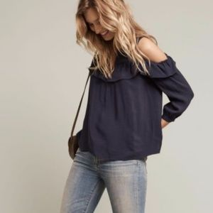 Maeve | Navy Blue Ruffled Cold Shoulder Flowy Top